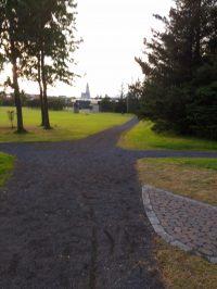 Klambratún Park mit Blick auf Hallgrimskirkja. Verwackelt. Wahrscheinlich war ich zu schnell.