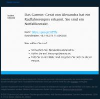 Email-Nachricht, die über einen Radunfall informiert.