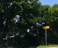 Straßenschild in den Ort Profit zeigt nach links